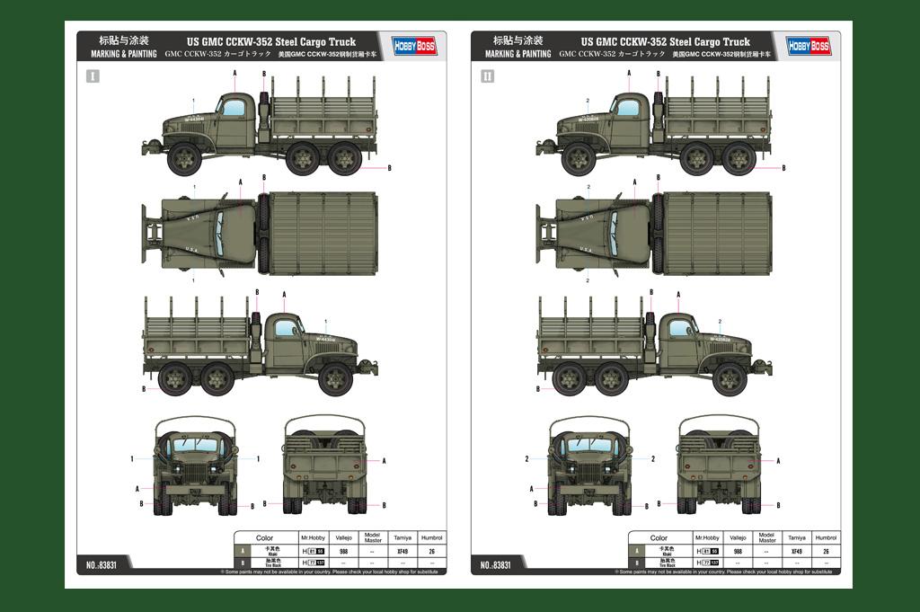 Us Gmc Cckw 352 Steel Cargo Truck 83831 1 35 Hobbyboss
