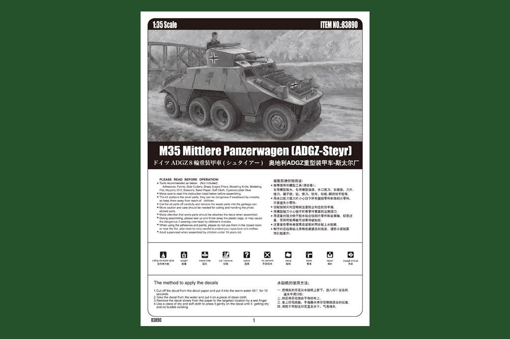 ADGZ-Steyr Hobbyboss 83890-1:35 M35 Mittlere Panzerwagen Neu